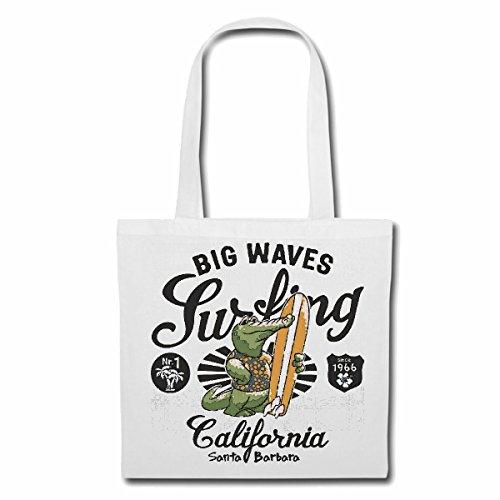 Tasche Umhängetasche Big Waves California KROKODIL Alligator Santa Barbara SURFEN Beach Surfbrett Longboard Wellenreiten Wellen ANFÄNGER Shop Einkaufstasche Schulbeutel Turnbeutel in Weiß