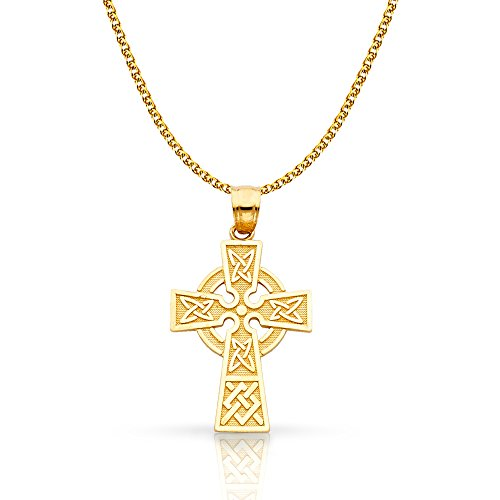 14K Yellow Gold Celtic Cross Pendant with 1.4mm Flat Open Wheat Chain Chain Necklace - 16'
