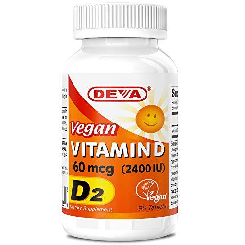 Deva Vegan Vitamin D2 60 mcg 2400 IU, Ergocalciferol Supplement with No Animal Ingredients, 90 Tablets
