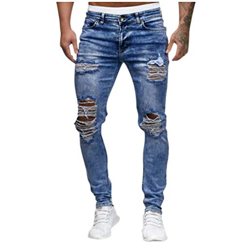 Best Deals! Men's Stretch Denim Pants - Men Fashion Knee Hole Hip Hop Ripped Distressed Jeans Slim...