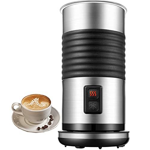 Montalatte automatico, Cappuccinatore Montalatte per Schiuma di Latte Calda e Fredda, Alloggiamento in Acciaio Inossidabile, Spegnimento Automatico, Perfetto per Cappuccino, Lattes