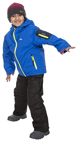 Trespass Jungen Warme Gepolsterte Wasserdichte Skijacke Mit Abnehmbarer Kapuze WATO, Blue, 3/4, MCJKSKTR0001_BLU3/4