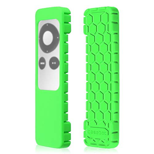 Fintie Protective Case for Apple TV 2 3 Remote Controller - Casebot [Honey Comb Series] Light Weight [Anti Slip] Shock Proof Silicone Sleeve Cover, Green