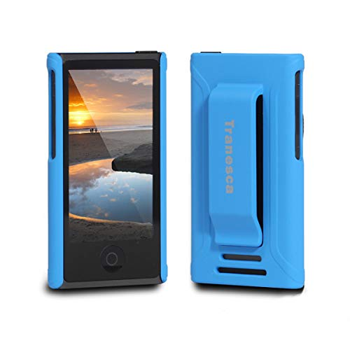 iPod Nano 7 case,Tranesca iPod Nano 7th & 8th Generation Rubber Cover Shell case with Belt Clip - Royal Blue