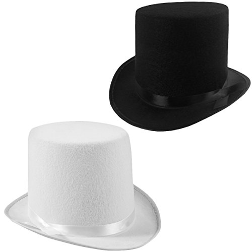 Felt Top Hats - 2 Pack - 1 Black & 1 White Top Hat Costume Hats Funny Party Hats