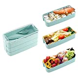 LITLANDSTAR Lunch Box, 3-Layer Bento Lunch Box 900ML Leak-Proof Stacking Compartment Lunch Containers, Ecological Bento Box Made of Wheat Straw with Fork and Spoon for Adults and Children (Green)
