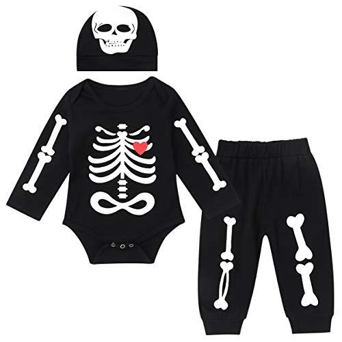 Agoky Bebé Niños Halloween Disfraz Calavera Conjunto Ropa Bebe Recien Nacida Camiseta Manga Larga Pantalones Largos y Gorro Bebe Niñas Pijama Negro 0-3 Meses