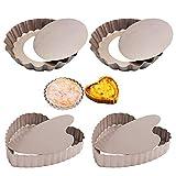 SwirlColor Teglia Crostata Fondo Removibile, 4 Pollici / 10 cm Mini Stampo per Quiche Antiaderente Stampo per Torta per Alimenti Stampo per Torta a Forma di Cuore Rotondo per Dolci - 4 Pezzi
