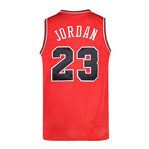 Mens 23# Space Retro Jersey Basketball Jersey White/Black/Blue S-3XL (Red, S)