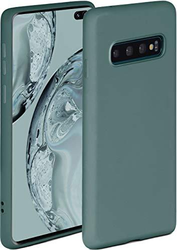 ONEFLOW Soft Hülle kompatibel mit Samsung Galaxy S10 Plus Hülle aus Silikon, erhöhte Kante für Displayschutz, zweilagig, weiche Handyhülle - matt Petrol