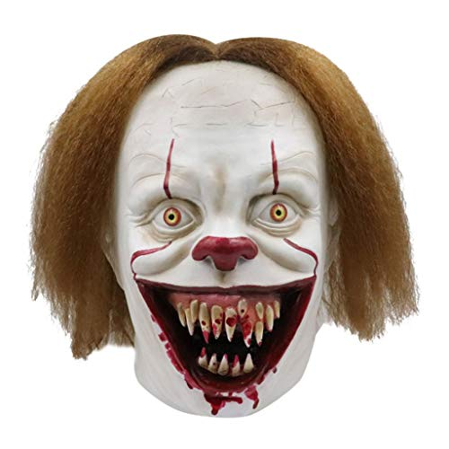 Glzcyoo Halloween Clown Mask Stephen King Movie Adult Horror Joker Volledige Gezicht Kostuum Party Prop,Adult Horror Clown Joker Stephen Latex Kostuum Masker Enge Halloween Cosplay Party Decoratie Props