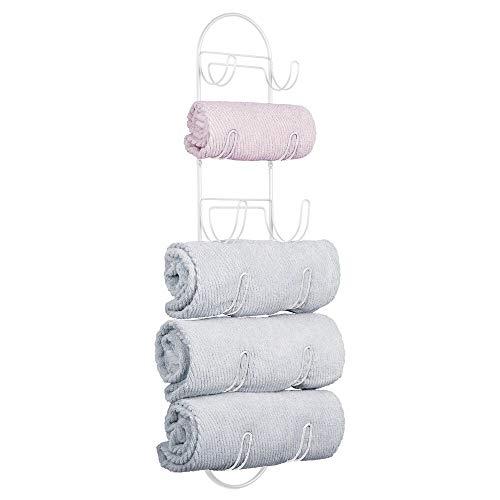 mDesign Toalleros de baño para montaje en pared – Estantes para toallas de metal – Elegante accesorio para el baño – Repisa para toallas ideal para el aseo de invitados – blanco