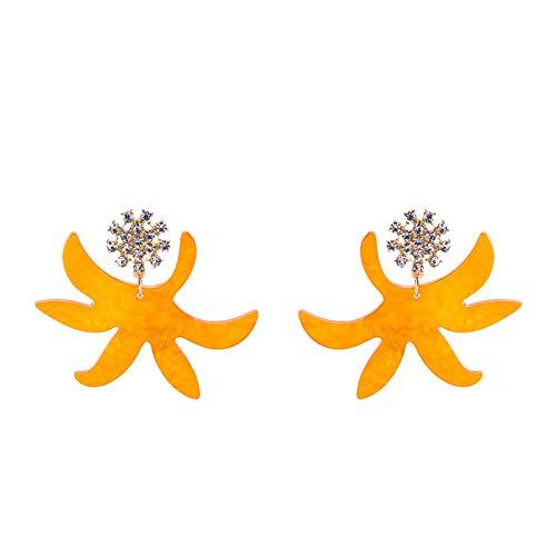 BJINUIY Pendientes de Moda y Moda Creativa, Pendientes de Diamantes completos de Nueva aleación Europeos y Americanos, Pendientes de Personalidad de Estrella de mar Naranja
