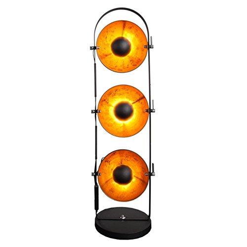 Design Stehlampe STUDIO schwarz gold Metall 3 Lampenschirme Lampe Blattgold Optik Stehleuche Bodenlampe Wohnzimmer Beleuchtung
