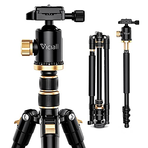 VICIALL 77'' Tripod, Camera Tripod for DSLR, Compact Aluminum Tripod with 360 Degree Ball Head and 8kgs Load for Phone,Camera Sony Canon Nikon, Travel and Work