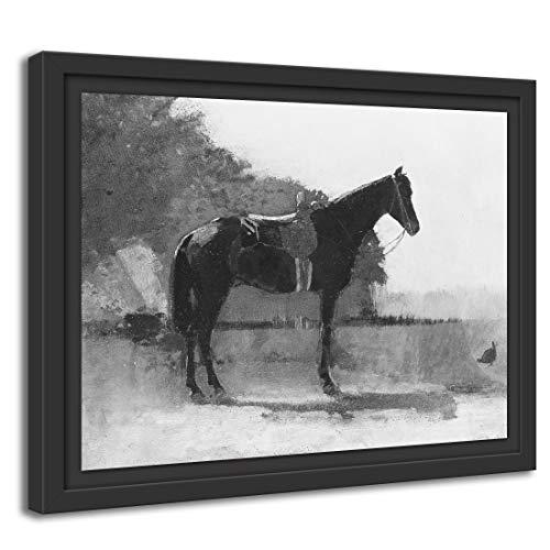 Printed Paintings Marco Americano (100x70cm): Winslow Homer - Caballo de Silla de Montar en el Patio de la Granja