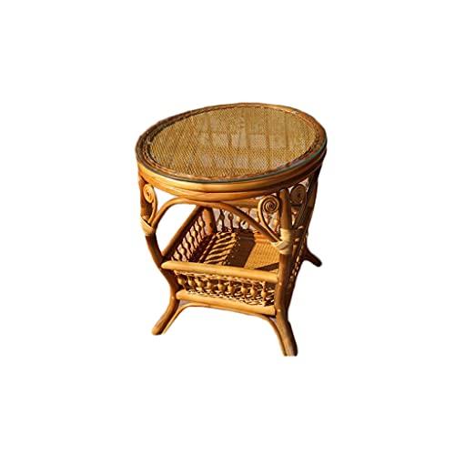 PIAOLING Mesa de café clásica de ratán para exteriores, portátil, mesa redonda pequeña de color miel, adecuada para salón, sofá, dormitorio, balcón y oficina, mesas de campamento (color: marrón)