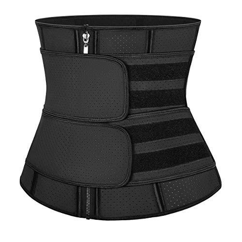 MISS MOLY Comfortable Waist Trainer Sauna Belt Hourglass Shaper Latex Sweat Corset Fat Burner Ab Belly Cincher Zipper Control Black L