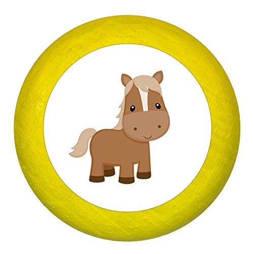 """Kommodengriff""""Pferd"""" gelb Holz Kinder Kinderzimmer 1 Stück Bauernhoftiere Traum Kind"""