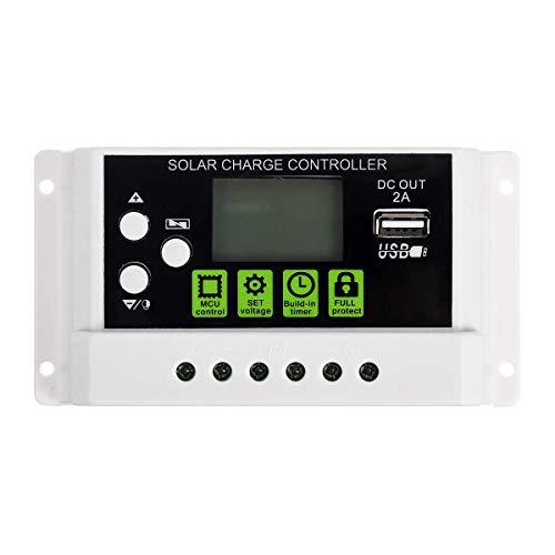 Solarladeregler mit USB-Anschluss, Schalter LCD-Display 20A-12V / 24V Solarpanel-Batterieregler Laderegler für Lithium-Batterie-20A-/12V/24V