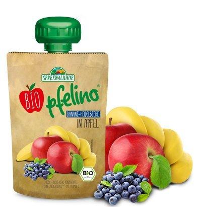 Bio pfelino Fruchtmus Banane-Heidelbeere in Apfel, 16er Pack (16 x 100g)