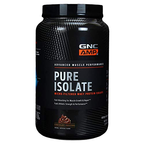 GNC AMP Pure Isolate - Chocolate Frosting, 28 Servings, 25 Grams of Whey Protein Isolate