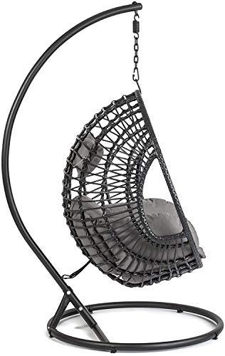 Mimbre al aire libre silla de mimbre oscilación,Black