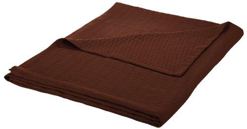Superior Thermodecke aus 100 prozent Baumwolle, weiche & atmungsaktive Baumwolle, für alle Jahreszeiten, Bettdecke & übergroße Überwurfdecke mit luxuriösem Rautengewebe, Full/Queensize, Schokoladenbraun
