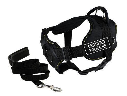 Dean & Tyler's DT Fun Chest Support 'CERTIFIED POLICE K9' Harness, Large, with 6 ft Padded Puppy Leash.