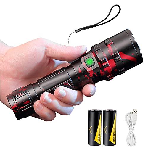 Flashlight Torcia LED Xhp90 4600 Lumen più Luminosa, Torcia Tattica Ricaricabile USB Zoomable 5 modalità Torcia Portatile Torce LED Super Power con Power Bank Funzione per Campeggio