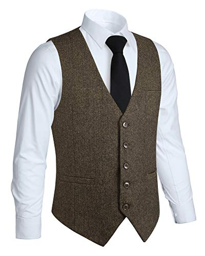 HISDERN Manner Formale Hochzeit Party 5 Tasten Wolle Weste Herringbone Tweed Westen Kleid Anzug Weste