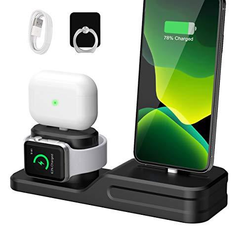 Wonsidary Soporte de Carga, 3 en 1 Base de Carga Silicona Estación de Carga Soporte Cargador Compatible con Apple Watch Series 5/4/3/2/1, Airpods pro/2/1, iPhone 12/11/XR/Xs/Xr/X/8/7/6/SE/5