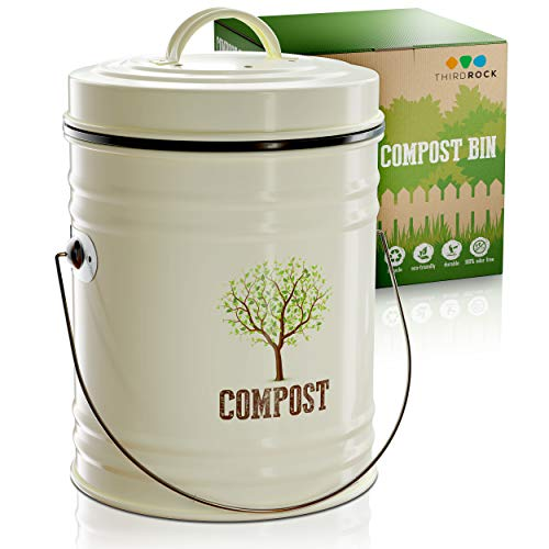 Affordable Third Rock Compost Bin for Kitchen Counter - 1.0 Gallon Compost Pail with Inner Compost B...