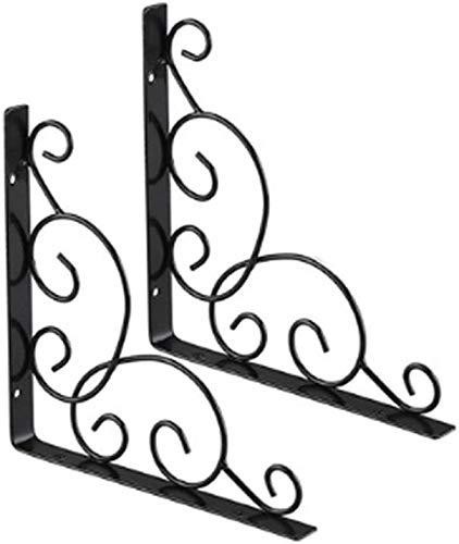 2 soportes de estante de pared metálicos para estante de pared de hierro forjado para cuarto de baño, cocina