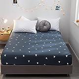 Nuoxuan Premium Sábana Bajera,Ropa de Cama con Estilo de algodón Puro, Cubierta Protectora de tamaño King Doble para Dormitorio de apartamento-Azul_120x200cm