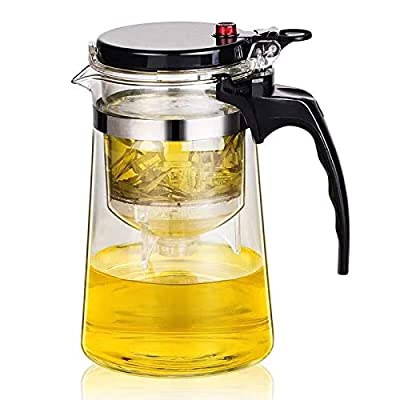 25OZ Teapot with Removable Infuser,PERFECT TEA MAKER, Borosilicate heat resistant teapotTea Glass Infuserfor Infusing Herbal Fruit Loose Leaf Tea Home Kitchen