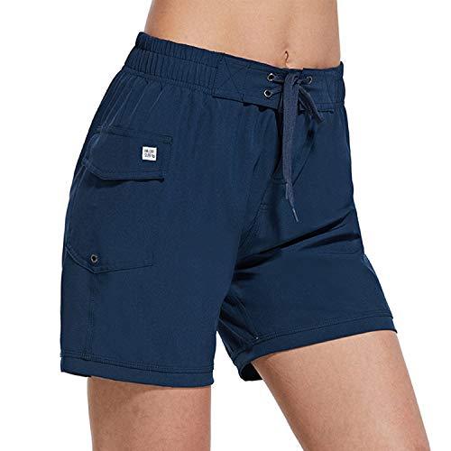 BALEAF Women's High Waisted 5 Inch Board Shorts Quick Dry Swim Bottoms with Pocket Surfing Beach Liner Navy Medium