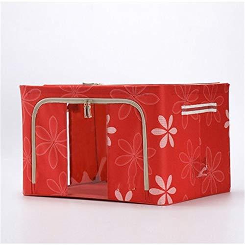 ETRZ Clothes storage box fabric folding double cover storage box red (50 * 40 * 28cm)