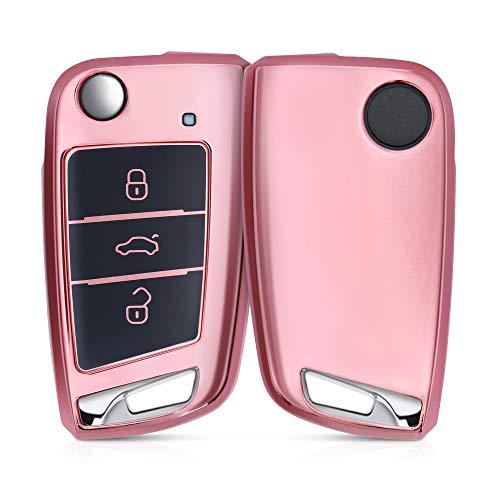 kwmobile Autoschlüssel Hülle kompatibel mit VW GTI Skoda RS 3-Tasten Klapp Autoschlüssel - TPU Schutzhülle Schlüsselhülle Cover in Hochglanz Rosegold