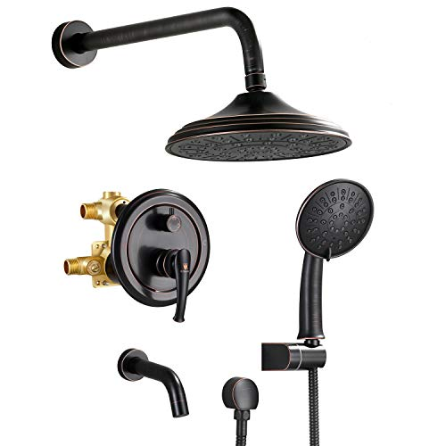 """Shower System, Wall Mounted Shower Faucet Set for Bathroom with 8"""" Rain Shower head,3-Setting Handheld Shower Head Set and tub spout, Oil-Rubbed Bronze(Rough in Valve Included)"""
