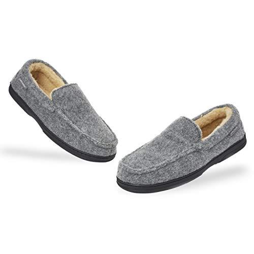 Dunlop Zapatillas Casa Hombre | Pantuflas Estilo Mocasines Cerradas | Zapatillas de Casa Invierno Calientes Suela de Goma Dura | Regalos Originales para Hombre (44 EU, Gris)