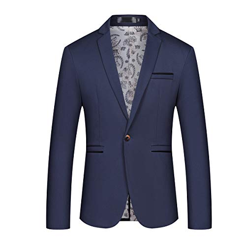 Mens Slim Fit Sport Coat Casual One Button Solid Color Jacket Blazer Navy