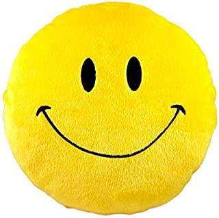 Smiley Emoticon Yellow Round Cushion Stuffed Plush Soft Pillow Toy Emoji Face Bed Pillow Home Living Room Decoration Pillows . (Throwingkiss Face Pouch)