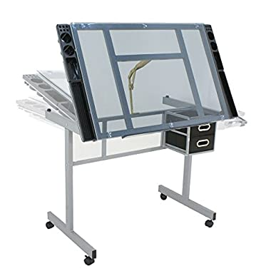 Adjustable Drafting Table Drawing Desk Craft Station Art Craft Glass Top W/ 2 Slide Drawers & Rolling wheels, tilts to 62.5 Degrees
