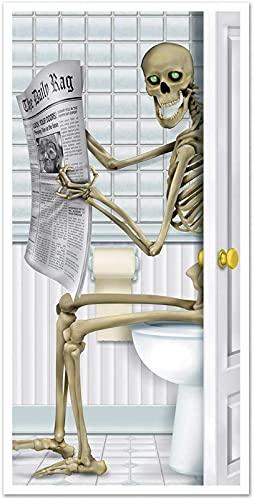 CHYOOO Decoración del día de Halloween Accesorios Horror Zombie Vidrio Etiqueta de la Puerta Papel Tapiz del baño Decorativo Azulejo Etiqueta Poster Estático Etiqueta de Agua