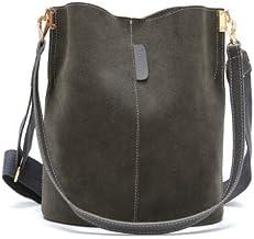 Korean Retro Chic Water Bucket Simple Big Travelling Fashion Women Outdoors Single Shoulder Bag Handbag (Gray)