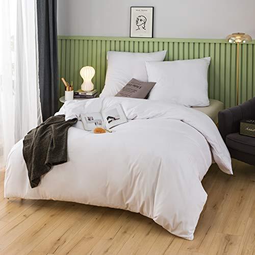 QZY Ropa de cama de 200 x 200 cm, 100% microfibra cepillada, calidad de 110 g/m², 2 fundas de almohada de 80 x 80 cm, color crema y blanco