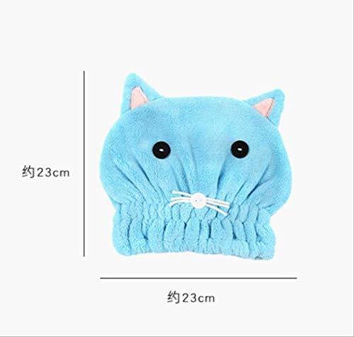 maoji Handtuch 25 X 62 cm Damen Magic Dry Hair Cap Schnelltrocknendes Haartuch Badetuch Weiche Kapuze Hut Handtuch Blaue Katze