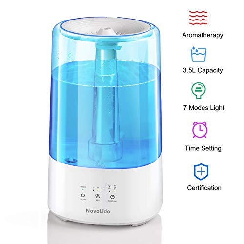 NovoLido 3.5L Humidifier for Bedroom with Timer, 2-in-1 Cool Mist Humidifier & Aromatherapy Vaporizer, 3 Mists & Night Light, Top-Fill Quiet Air Humidifier for Office Baby Large Room, Upgraded, Blue
