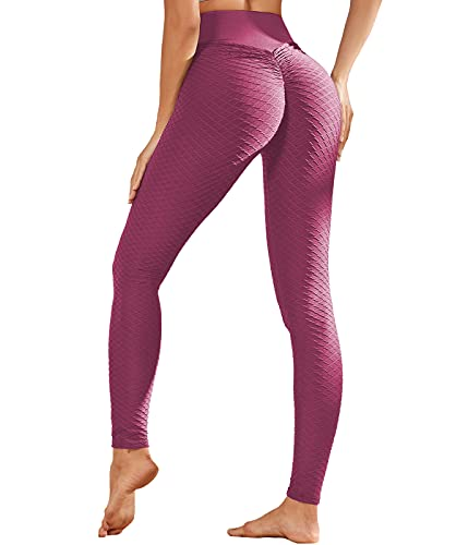 FitVlen Legging Sport Donna Pantaloni Yoga Tiktok Anticellulite Vita Alta Push Up Nido d'Ape Griglia Sollevato Natiche Anca Controllo della Pancia Dimigrante Pants Fitness Palestra Nero Elastico